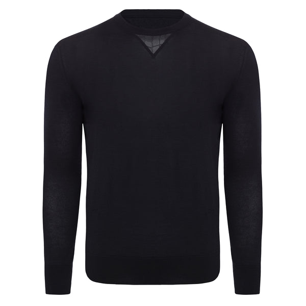 Bijan Cashmere and Silk Navy Crew Neck Sweater
