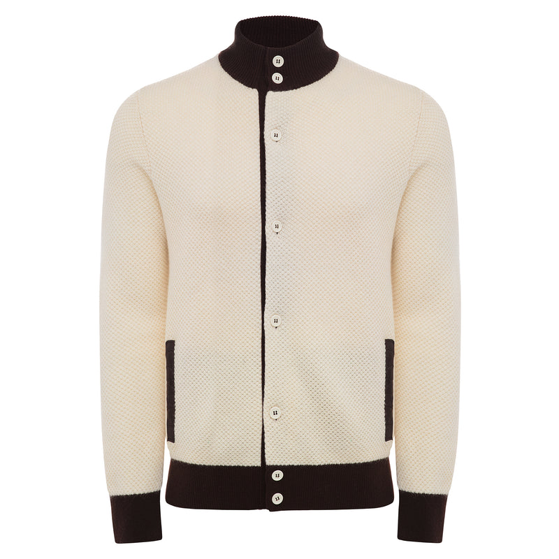 Bijan Pure Cashmere Off-White Cardigan Sweater