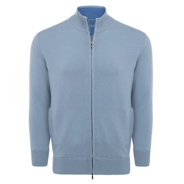 Bijan Cashmere French Blue Zip Up Sweater