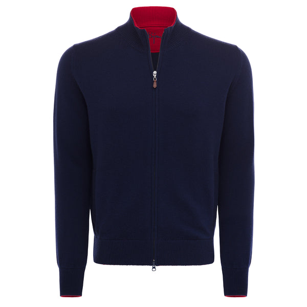 Bijan Pure Cashmere Navy Cardigan Sweater