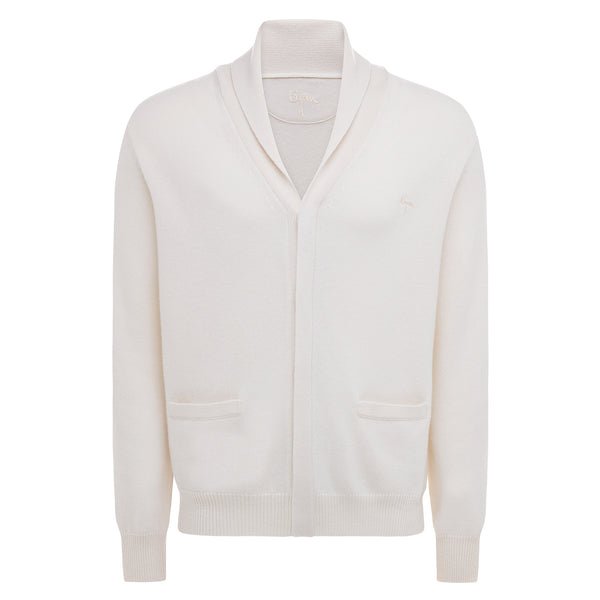 Bijan Cashmere Off-White Button Up Cardigan Sweater