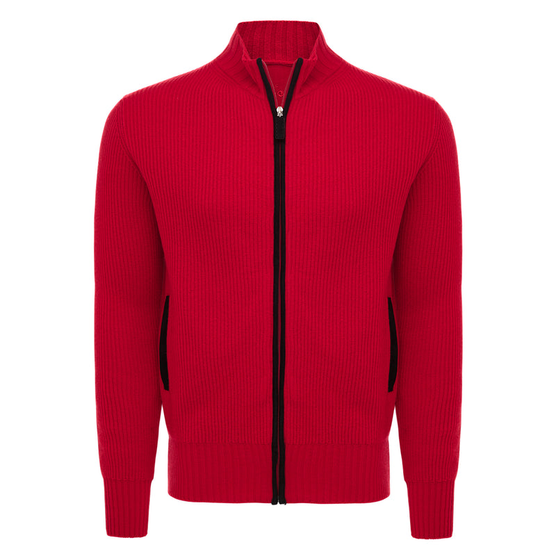 Bijan Red Cashmere Zip-Up Cardigan