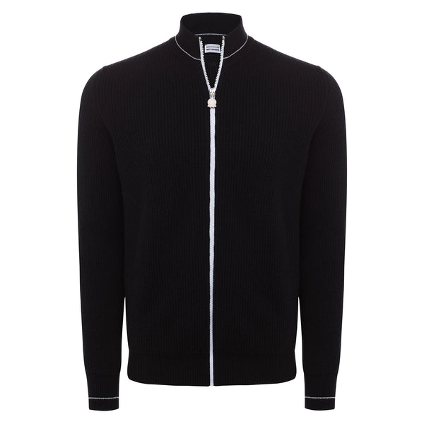 Bijan Pure Cashmere Black Cardigan Sweater with Contrast White Zipper