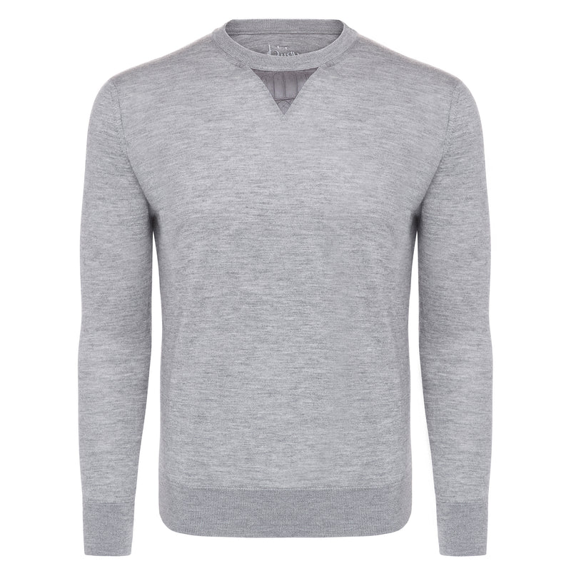 Bijan Cashmere and Silk Gray Crew Neck Sweater