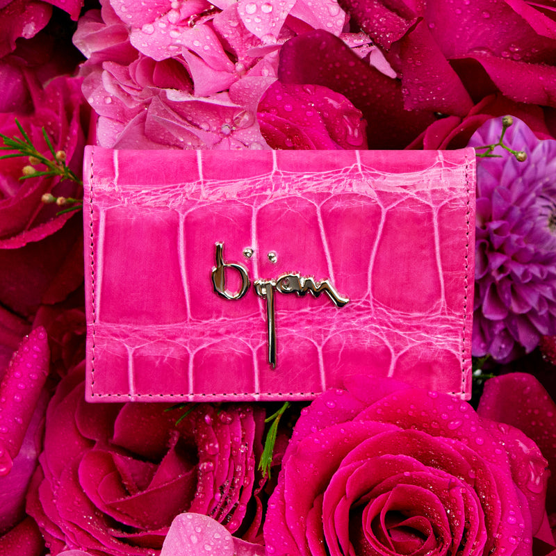 Hot Pink Leather Card Holder
