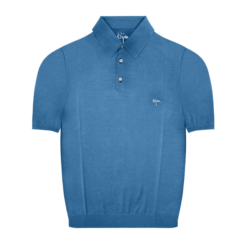 Bijan Sky Blue Short Sleeve Pure Silk Polo Shirt