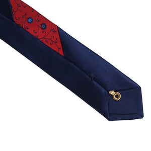 Red with Navy Flowers