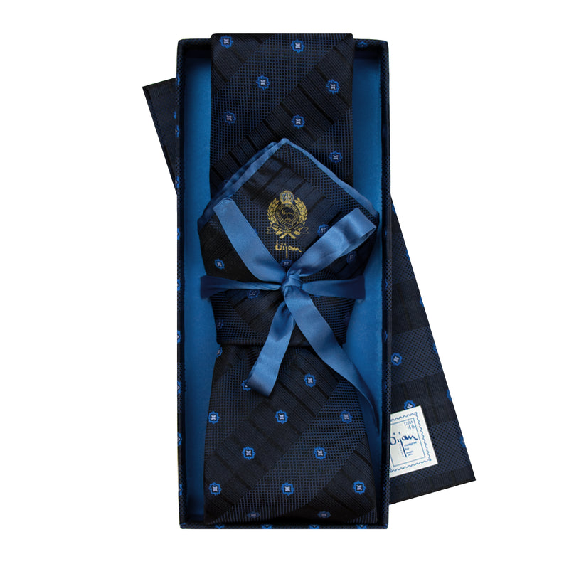 Bijan Blue Stripe Pure Silk Tie Set