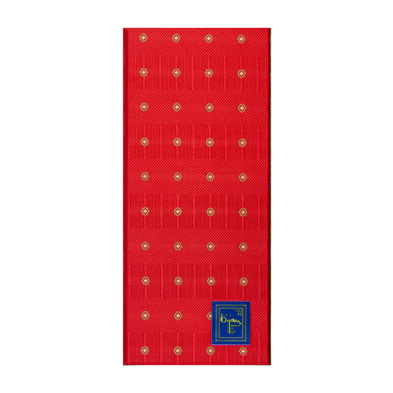 Bijan Red Stripe Pure Silk Tie Set