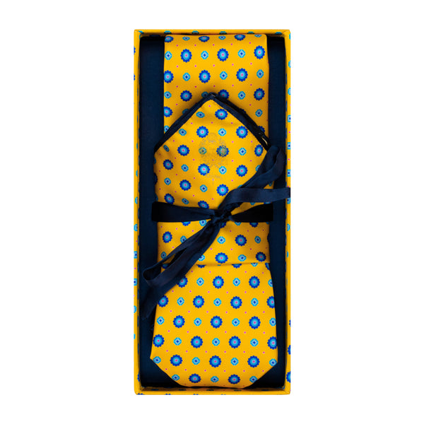 Bijan Yellow and Blue Pure Silk Tie Set
