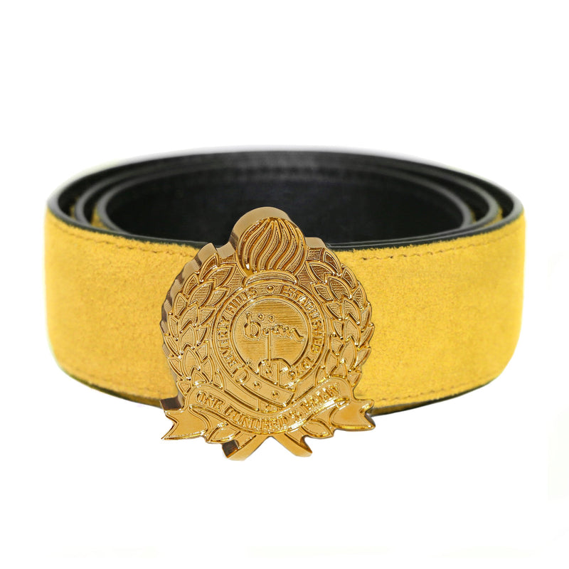 Bijan Crest Yellow Suede Belt