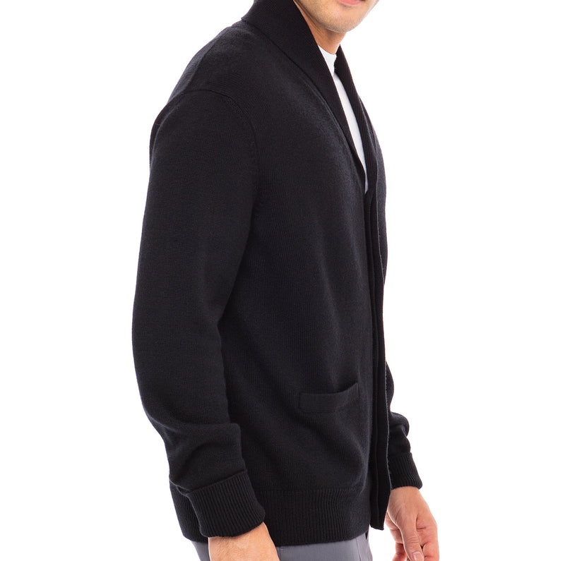 Bijan Cashmere Black Button Up Cardigan Sweater