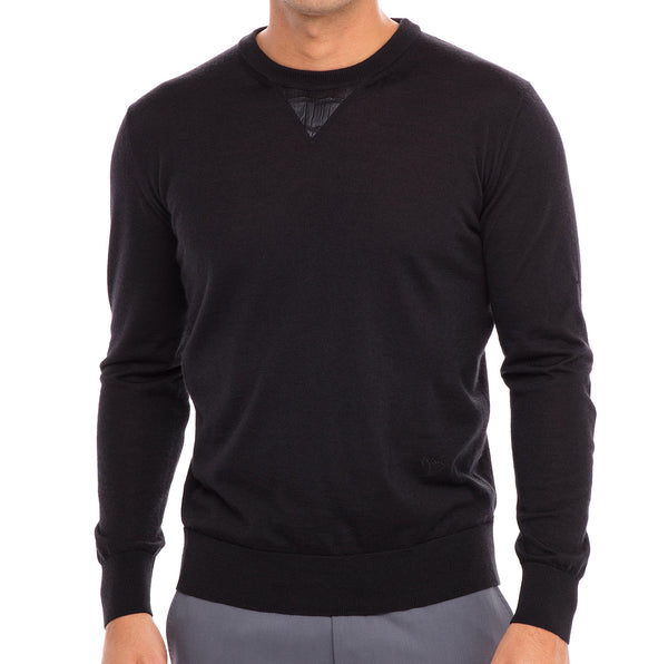 Bijan Cashmere and Silk Black Crew Neck Sweater