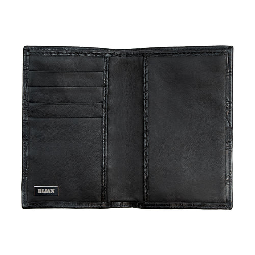 Matte Black Alligator Passport Holder