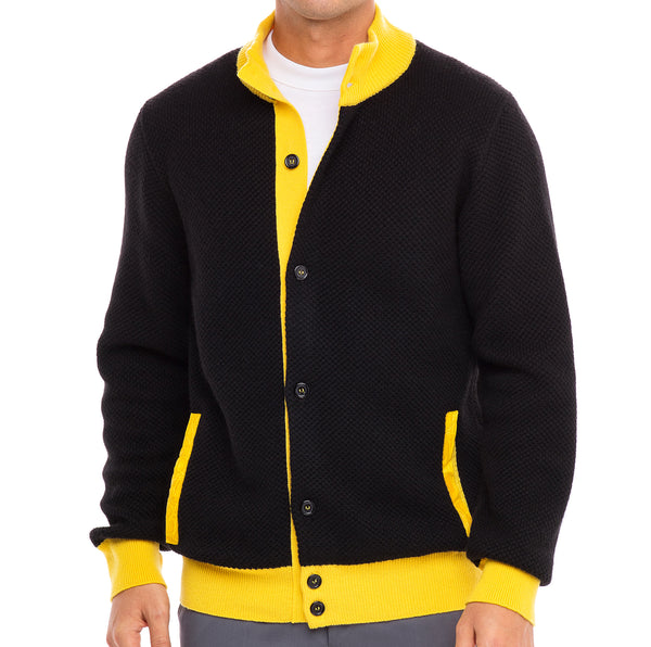 Bijan Pure Cashmere Black and Yellow Cardigan Sweater