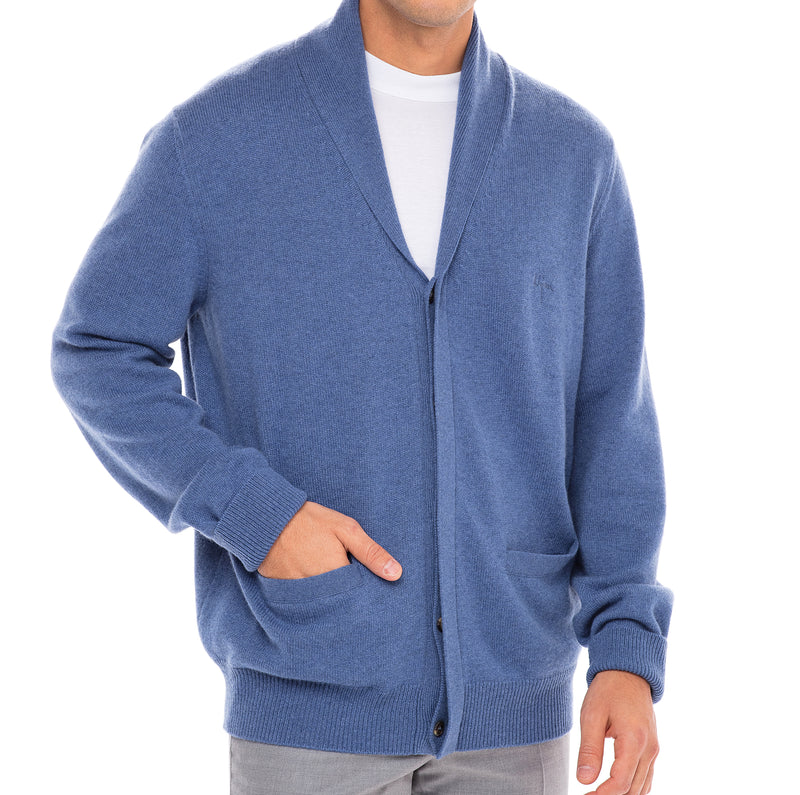Bijan Cashmere Blue Button Up Cardigan Sweater