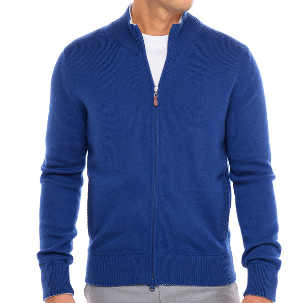 Bijan Pure Cashmere French Blue Cardigan Sweater