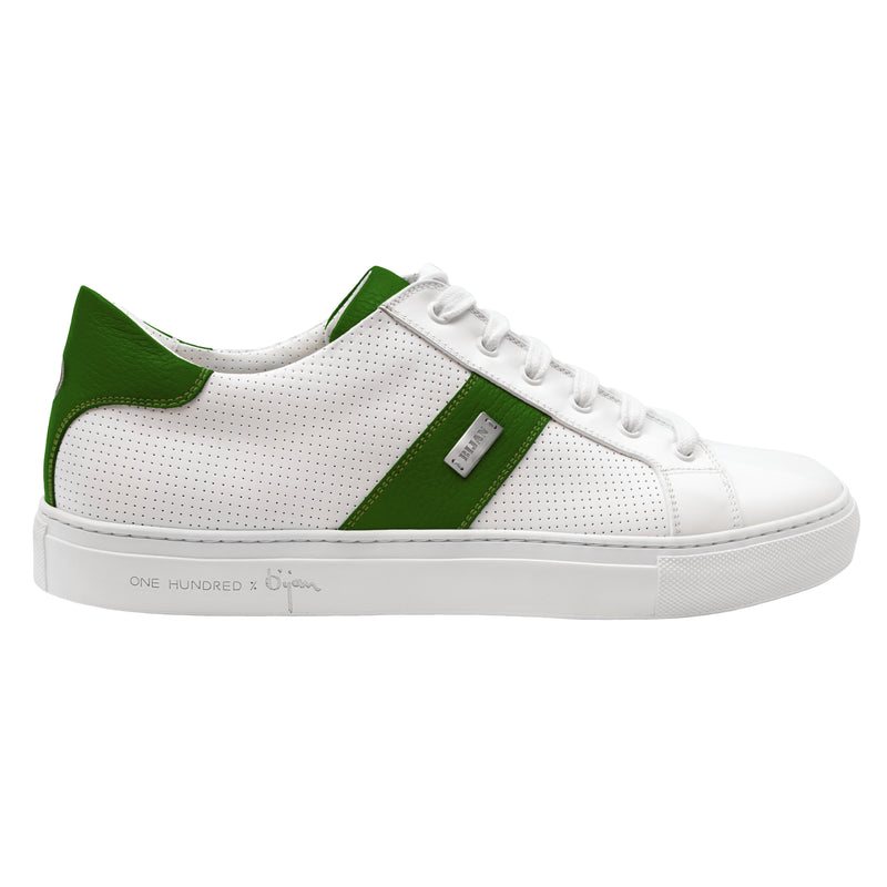Bijan Green and White Leather Sneaker