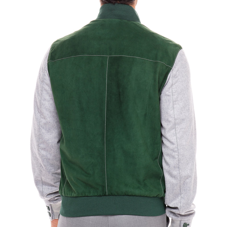 Bijan Forest Green and Light Grey Suede and Cashmere Jacket