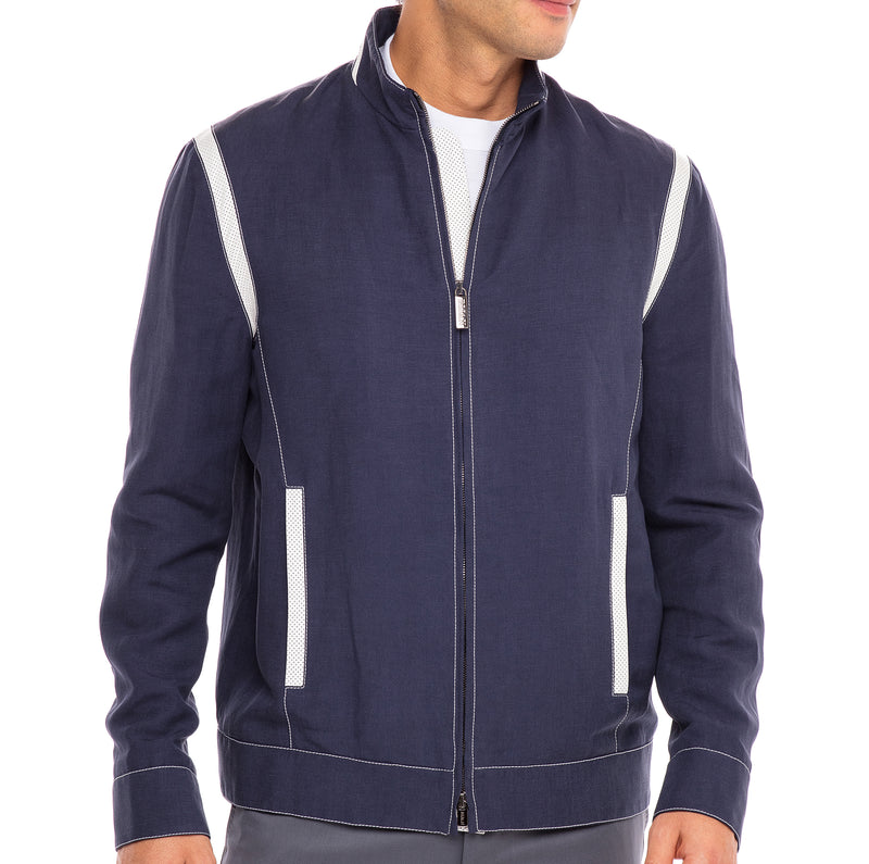 Bijan Lightweight Blue Silk and Linen Blouson Jacket