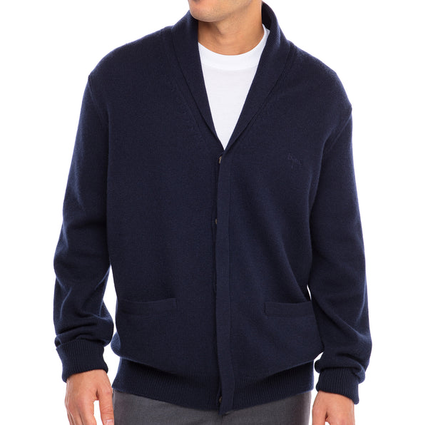 Bijan Cashmere Navy Button Up Cardigan Sweater