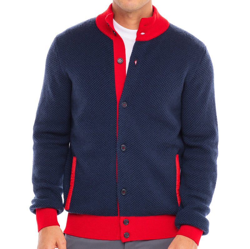Bijan Pure Cashmere Navy and Red Cardigan Sweater