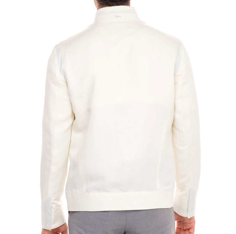 Bijan Lightweight Silk and Linen Blouson Jacket