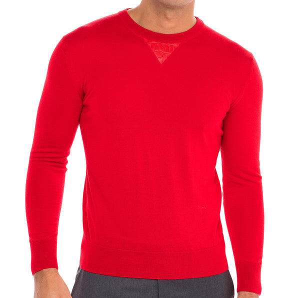 Bijan Cashmere and Silk Red Crew Neck Sweater