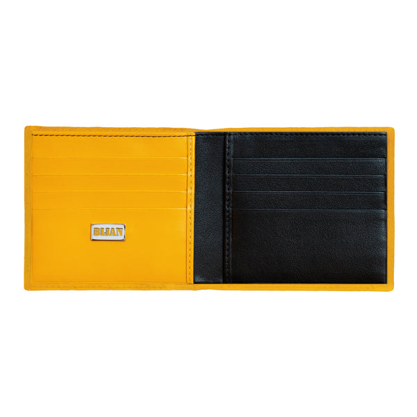 Bijan Yellow Leather Bi-Fold Wallet