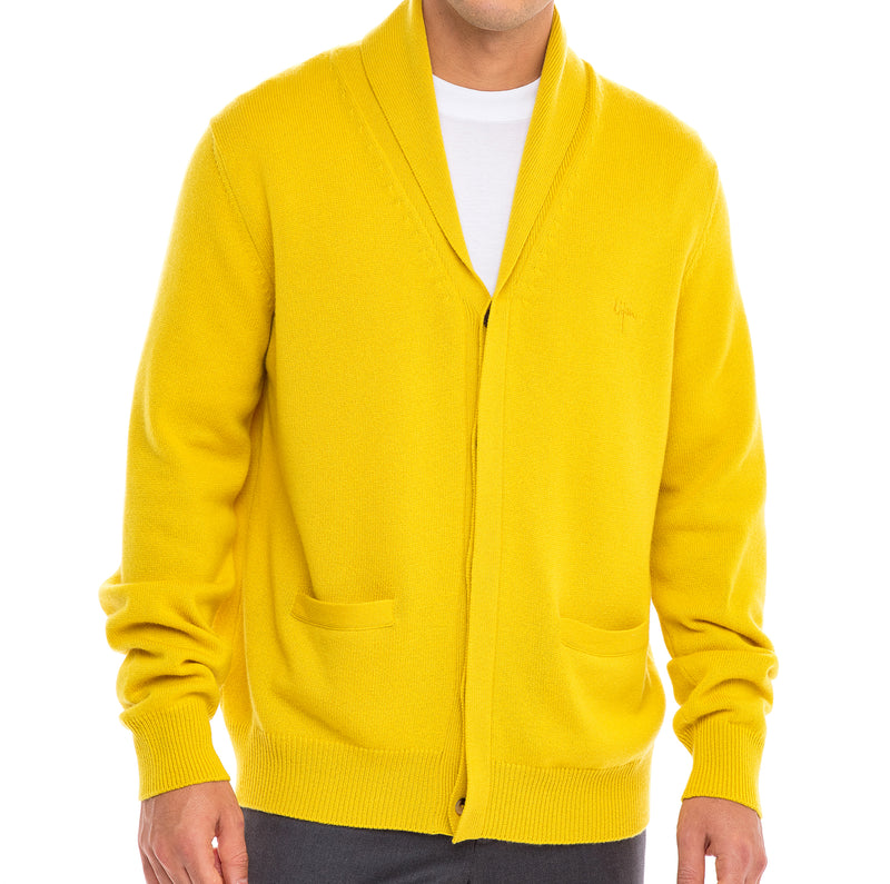 Bijan Cashmere Yellow Button Up Cardigan Sweater
