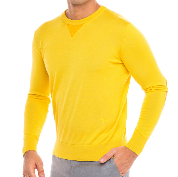 Bijan Cashmere and Silk Yellow Crew Neck Sweater