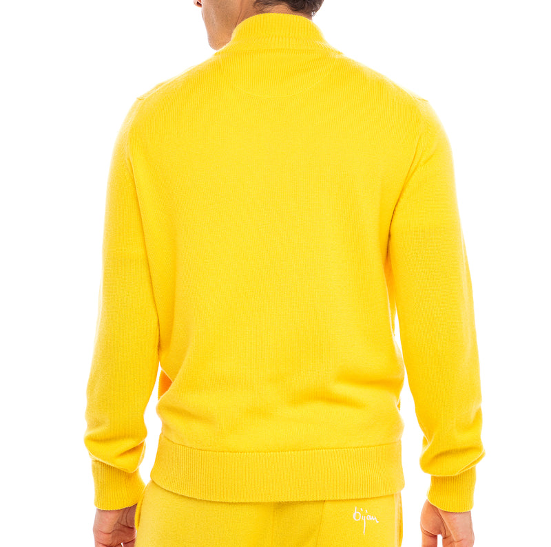 Bijan Pure Cashmere Yellow Cardigan Sweater