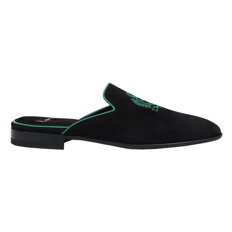 Bijan Black and Teal Slip On Suede Loafer
