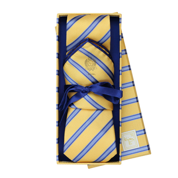 Bijan Yellow and Blue Stripe Pure Silk Tie Set