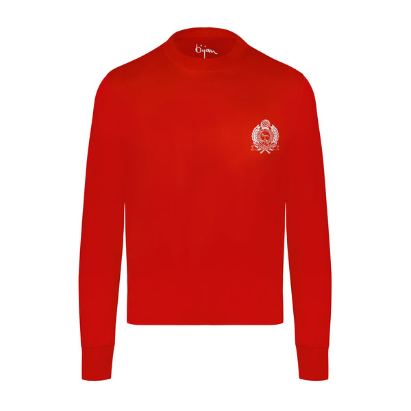 Bijan Red with White Crest Long Sleeve T-Shirt