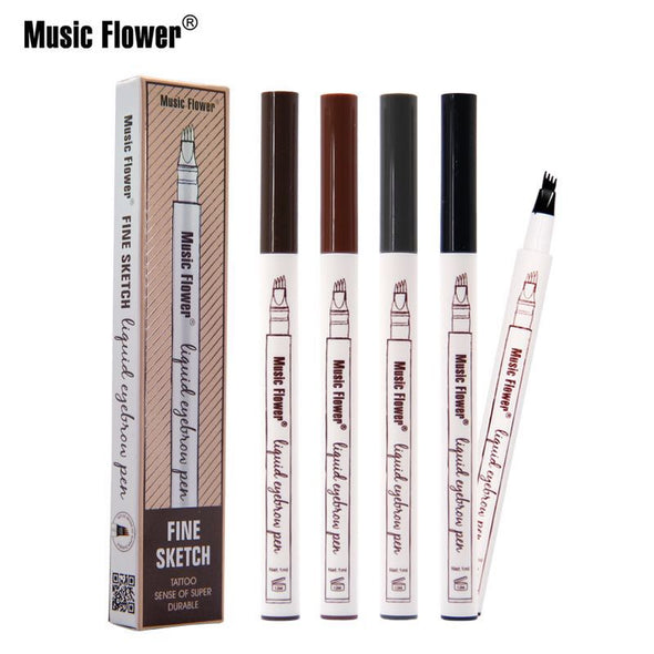 2 Liquid Eyebrow Tattoo Pen with 4 Heads Fine Sketch Liquid Eyebrow Waterproof Pen - Moventin