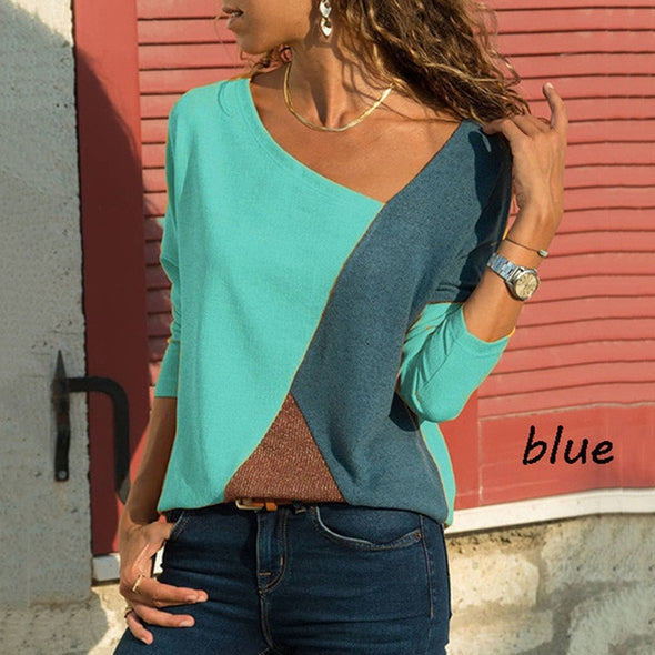 Casual Color Block Blouses - Moventin