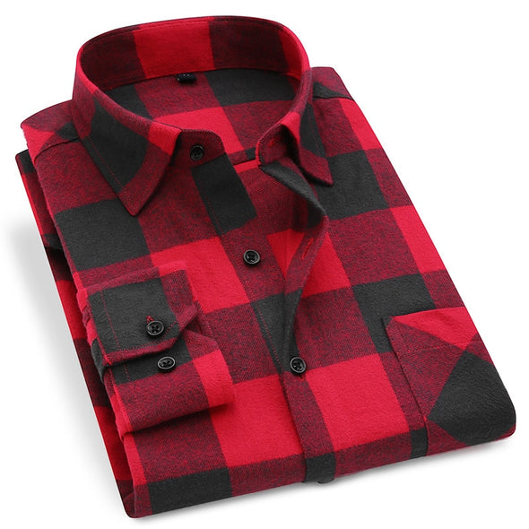 Plaid Casual Long Sleeve Shirt - Moventin