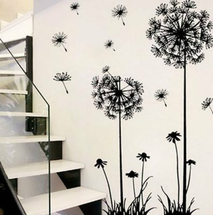 Hot black dandelion sitting room bedroom wall stickers