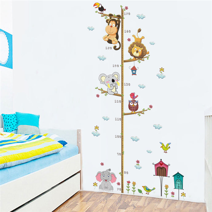 Cartoon Animals Lion Monkey Owl Elephant Height Measure Wall Sticker
