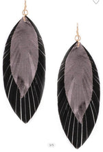 LAYERED FAUX LEATHER LEAF DROP EARRINGS
