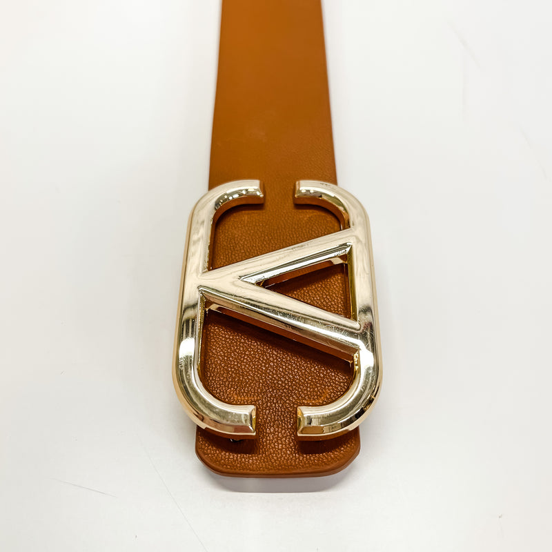 VIXEN COGNAC + GOLD PLAIN BELT