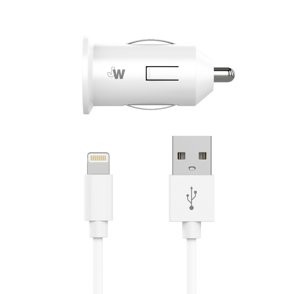Just Wireless - Single USB Car Charger with 4' Lightning Cable