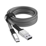 6ft Nylon Braided Flat USB-C Cable - Slate / Silver