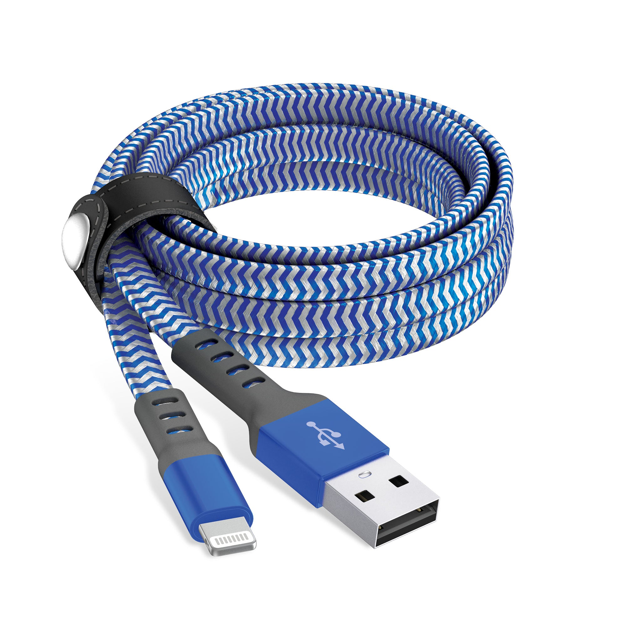 6ft Flat Nylon Braided Lightning Cable - Arctic Blue