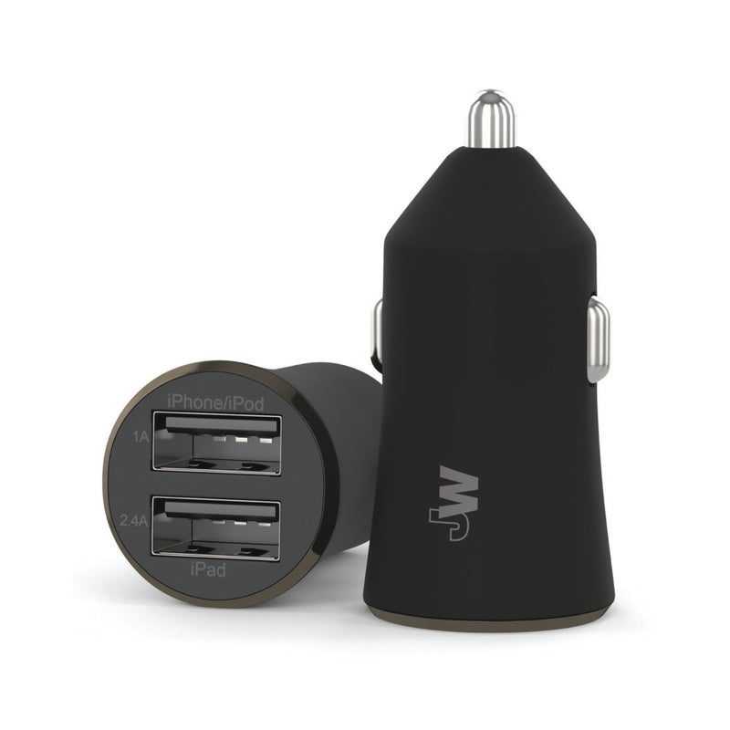2.4A/12W 2-Port USB-A Car Charger with 6ft TPU Micro USB to USB-A Cable - Black
