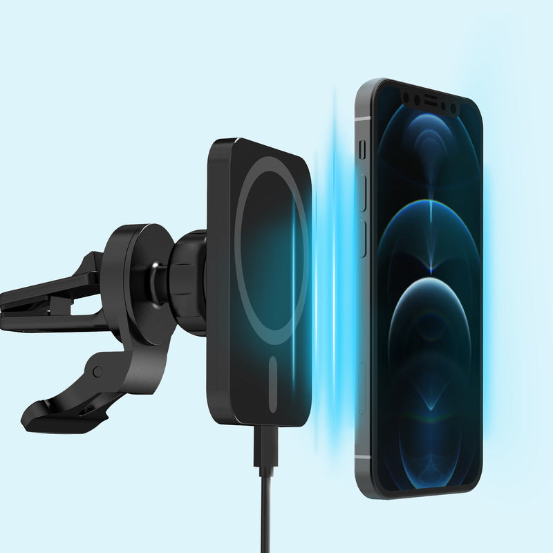Magnetic Car Mount 15W Charging – Black