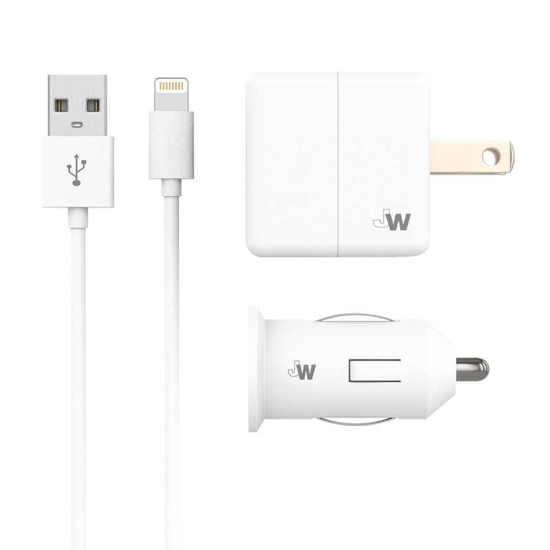 Just Wireless - Single USB Car & Wall Charger with Apple Lightning Cable