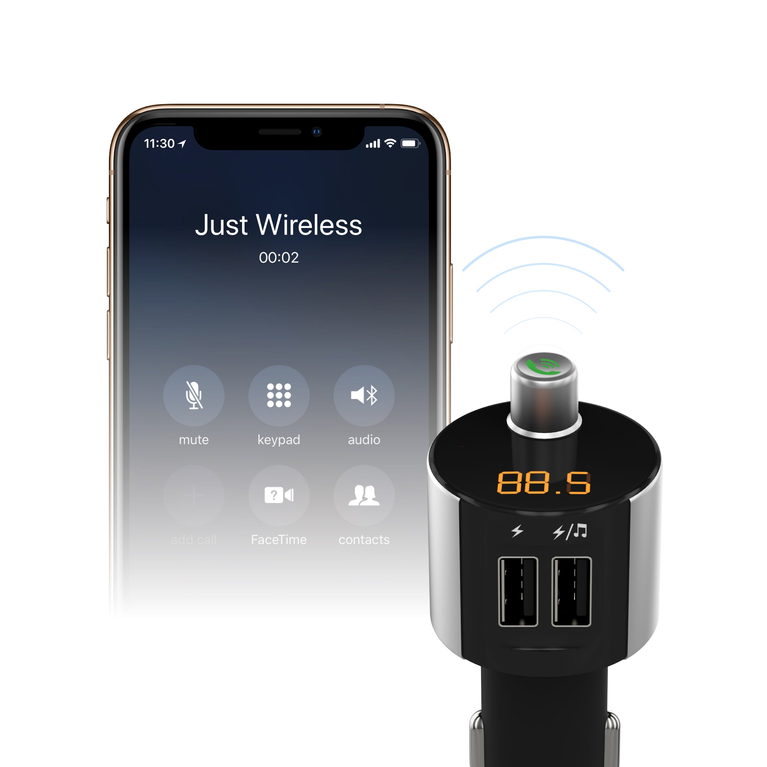 Just Wireless - 2-Port USB Car Charger & Wireless FM Transmitter