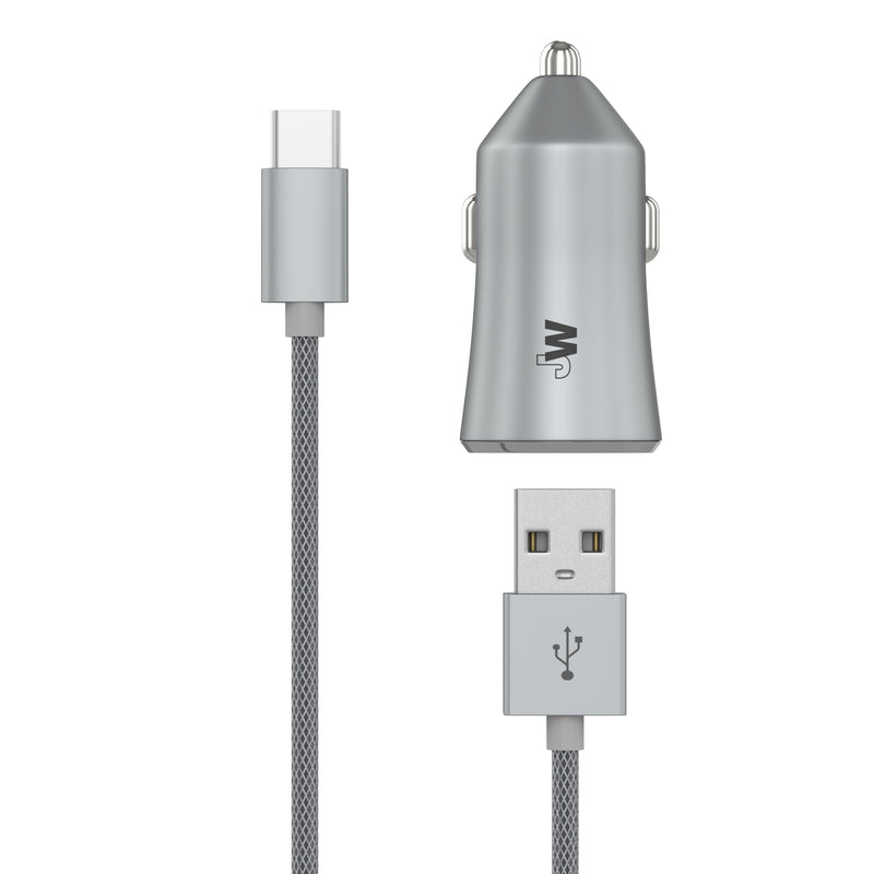 2-Port USB-C Car Charger with 6ft USB-C Cable